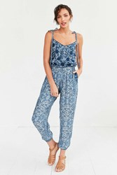Carolina K Embroidered Flower Jumpsuit Blue