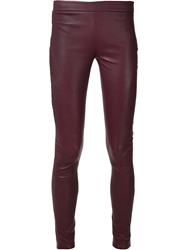 Tess Giberson Pieced Leather Leggings Red