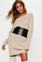 Missguided Beige Off Shoulder Knit Sweater Dress Stone