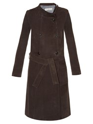 Golden Goose High Neck Suede Trench Coat Dark Brown