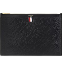 Thom Browne Animal Icon Leather Pouch Black