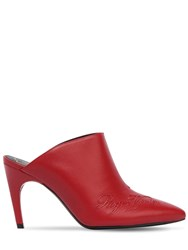 Roger Vivier 85Mm Embossed Logo Leather Mules Red