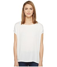 Allen Allen Short Sleeve Square Top White Women's Short Sleeve Pullover