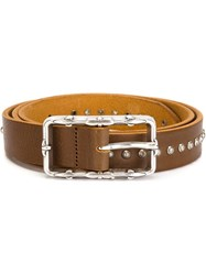 Eleventy Studded Buckle Belt Brown