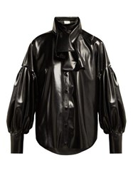 Hillier Bartley Latex Balloon Sleeve Blouse Black