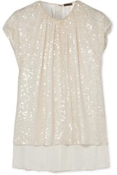 Adam By Adam Lippes Gathered Sequined Crepe Top Ivory