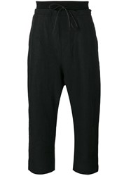 Isabel Benenato Drawstring Drop Crotch Cropped Trousers Black