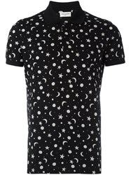 Saint Laurent Star And Moon Print Polo Shirt Black