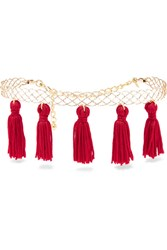 Kenneth Jay Lane Tasseled Gold Plated Choker Red