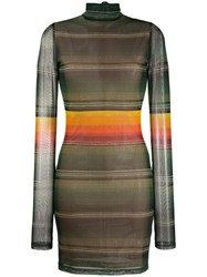 House Of Holland Long Sleeve Striped Dress Green