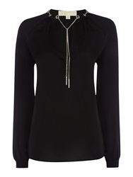 Michael Kors Long Sleeve Chain Silk Blouse Black