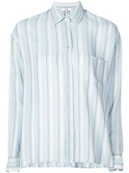 Vince Striped Button Shirt Blue