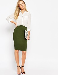 Asos High Waisted Pencil Skirt Olive