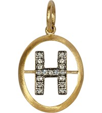 Annoushka Alphabet 18 Ct Yellow Gold And Pave Diamond Pendant H