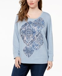 Style And Co Plus Size Printed Sweatshirt Created For Macy's Medallion Trio