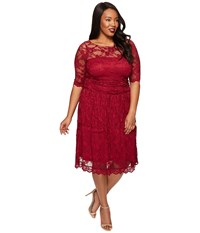 Kiyonna Luna Lace Dress Rose Wine Women's Dress Pink