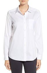 Halogenr Petite Women's Halogen Long Sleeve Poplin Shirt White