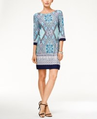 Sandra Darren Three Quarter Sleeve Geometric Mirror Print Shift Dress