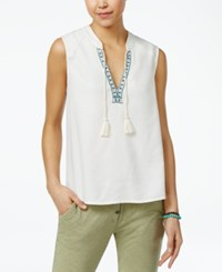Roxy Juniors' Magic Hour Tassel Trim Embroidered Top Marshmallow
