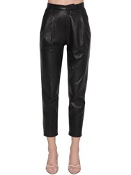 Red Valentino High Rise Leather Straight Pants Black