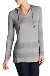 Cable And Gauge Long Sleeve Pullover Hoodie Gray