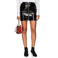 L'agence Claudia Patent Leather Zip Front Miniskirt Black