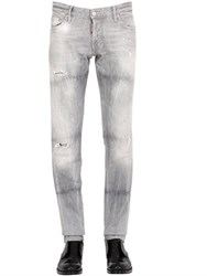 Dsquared 18Cm Slim Grey Wash Stretch Denim Jeans