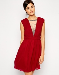 Little Mistress Plunge Neck Prom Dress With Embellished Neck Cherry