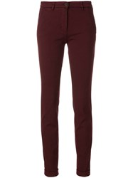 Via Masini 80 Skinny Chino Trousers Cotton Polyester Spandex Elastane Red
