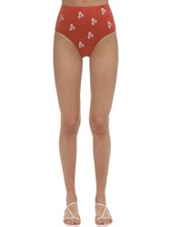 Anemone Embroidered Cheeky High Waist Bottoms Rust