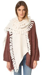 Rebecca Minkoff Asymmetrical Fringed Muffler Cream