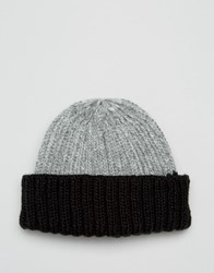 Asos Mini Fisherman Beanie With Contrast Turn Up Grey