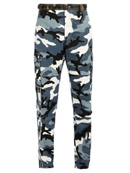 Valentino Camouflage Print Cargo Trousers Grey