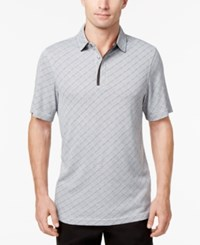 Tasso Elba Men's Textured Diamond Polo Created For Macy's Dark Lead Combo