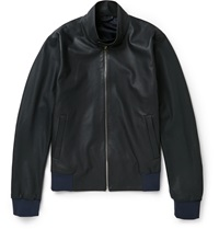 Paul Smith Perforated Leather Bomber Jacket Gray