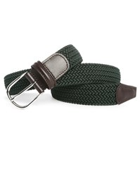Andersons Khaki Elastic And Brown Leather Belt