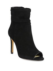 Vince Camuto Keyna Ruched Suede Open Toe Booties Black