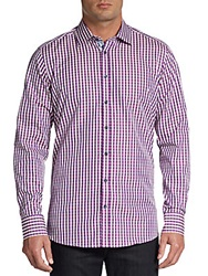 Sand Gingham Woven Cotton Sportshirt Purple