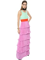 Fausto Puglisi Ruffled Pleated Crepe And Cady Gown
