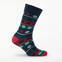 John Lewis Christmas Nordic Snow Socks One Size Multi