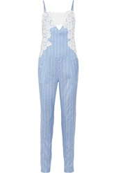 Thakoon Lace Trimmed Striped Silk Jumpsuit Blue