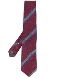 Canali Striped Woven Tie Red