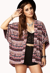 Forever 21 Abstract Tribal Print Cardigan Cream Wine