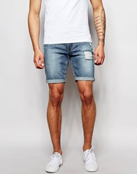 Asos Skinny Denim Shorts In Acid Wash With Abrasions Mid Blue