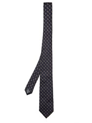 Dunhill Paisley Embroidered Woven Silk Tie Black Multi