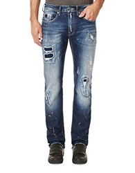 Buffalo David Bitton Distressed And Whiskered Straight Leg Jeans Indigo