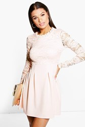 Boohoo High Neck Lace Skater Dress Nude