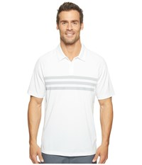 Adidas Climacool 3 Stripes Competition Polo White Mid Grey White Men's Short Sleeve Pullover