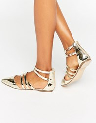 Asos Libby Caged Ballet Flats Gold