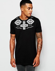 Asos Longline T Shirt With Aztec Yoke Print In Relaxed Skater Fit Black